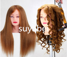 About 60CM hair length 95% natural mannequin head doll  display
