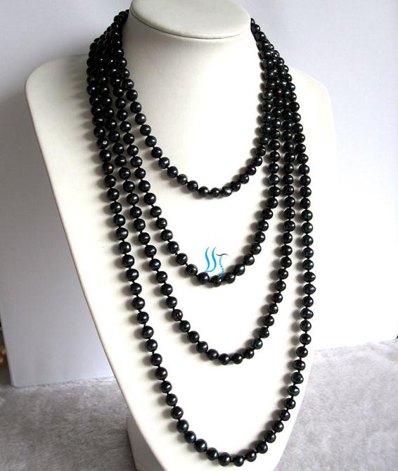 Long Pearl Jewelry Black Color 100 inches 7-8mm Freshwater Pearl Necklace  Free One Pairs Earrings Perfect Party GiftLong Pearl Jewelry Black Color 100 inches 7-8mm Freshwater Pearl Necklace  Free One Pairs Earrings Perfect Party Gift