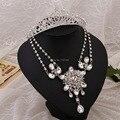 De tres piezas de joyería nupcial conjunto joyería al por mayor corona de aleación de joyería de la boda de cristal collar nupcial noiva