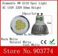 10 pçs/lote frete grátis Dimmable GU10 9 W Led Spotlight Luz 110 V-240 V Lâmpada Led Downlight Quente/Pure/Cool White 50mm altura do bulbo