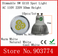 10pcs/lot free shipping Dimmable GU10 9W Spotlight Led Light 110V-240V Led Lamp Downlight Warm/Pure/Cool White 50mm height bulb