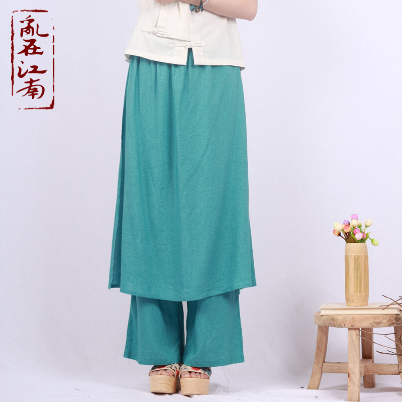 Nepal Thailand fisherman pants personality pure linen wide straight leg trousers