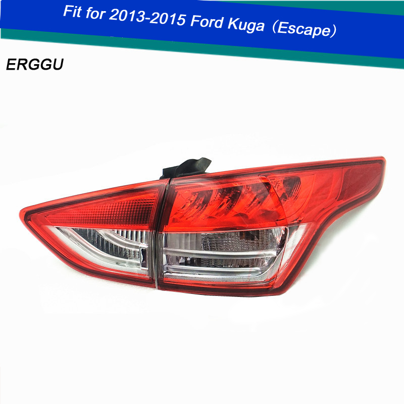 ERGGU Car Styling for Ford Escape KUGA TAIL Lights LED Tail Light LED Rear Lamp DRL+Brake Trunk LIGHT Automobile Accessories abs chrome tail rear trunk window side cover trim car styling accessories fit for ford kuga escape 2013 2014 2015 2pcs per set