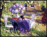 Needlework for embroidery DIY French DMC High Quality Counted Cross Stitch Kits 14 ct Oil painting Lilac Tea Party