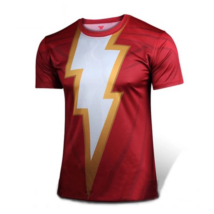 2019 Movie Shazam T-shirt Cosplay Costume DC Superhero Dressed Cosplay Tee  for Man Polyester Halloween Party Prop