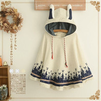 Takerlama 1pc Lolita Girls Rabbit Ears Hoodie Loose Kawaii Cape Spring Fall Coat Cotton Casual Cloak Outerwear