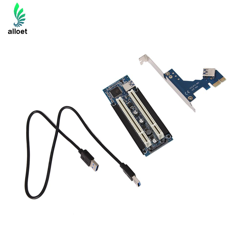PCI E Express X1 to Dual PCI Riser Extend Adapter Card with 1M Long USB3 0
