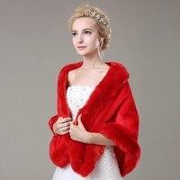 wholesale Warm winter scarf imitation fox fur red bride wedding shawl winter shawl faux fur scarf apparel accessories