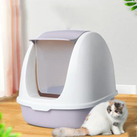 Pink Large Top Indoor Cat Litter All Enclosed Sand Box Plastic Training Kit Reusable Tray Cat Wc Kattenbak Pet Potty 6d0059