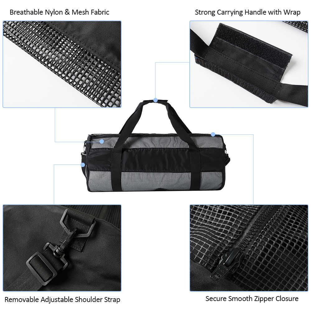 Bolsa de lona de malla Lixada bolsa de equipo de Snorkel bolsa de transporte de aletas de Snorkel bolsas de buceo de agua de surf Snorkel bolsa de engranajes
