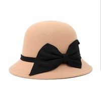 2017 New Fashion Hats For Women Soft Vintage Wide Brim Wool Felt Bowler Fedora Hat Floppy