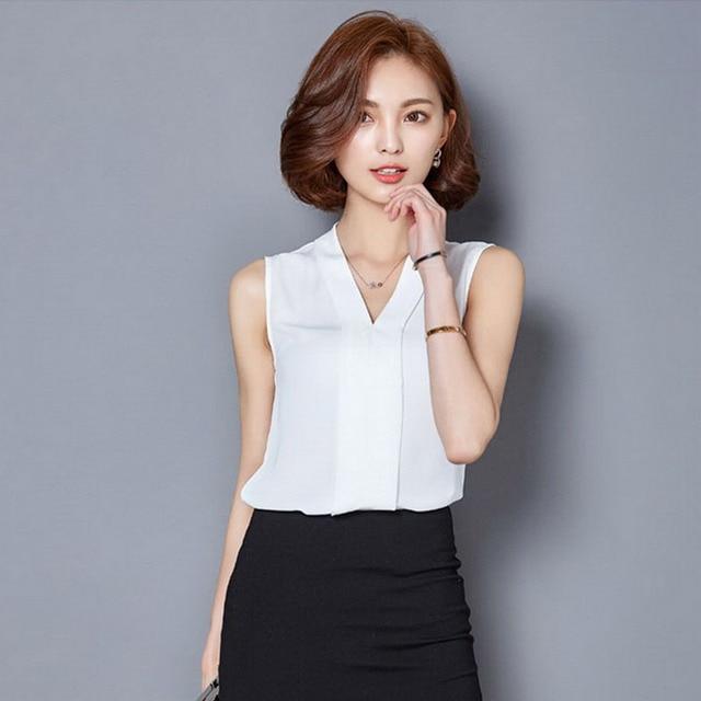 1e71794c383d 2018 Summer New Korean Style Women Clothing Chiffon Blouse V Neck  Sleeveless Slim Casual Office Lady White Blouse Plus Size