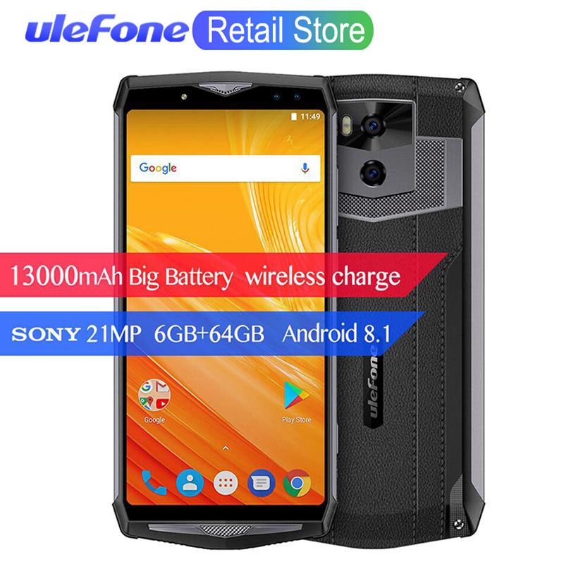"Ulefone Power 5 6.0"" 18:9 4G Smartphone 13000mAh 6GB+64GB MTK6763 Octa Core Android 8.1 Wireless Charger Quad Cams 21MP Face ID"