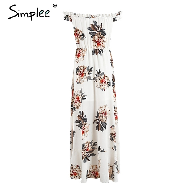 Simplee Off shoulder chiffon print maxi dress women High wiast lined long dress 2017 summer casual party robe femme vestidos