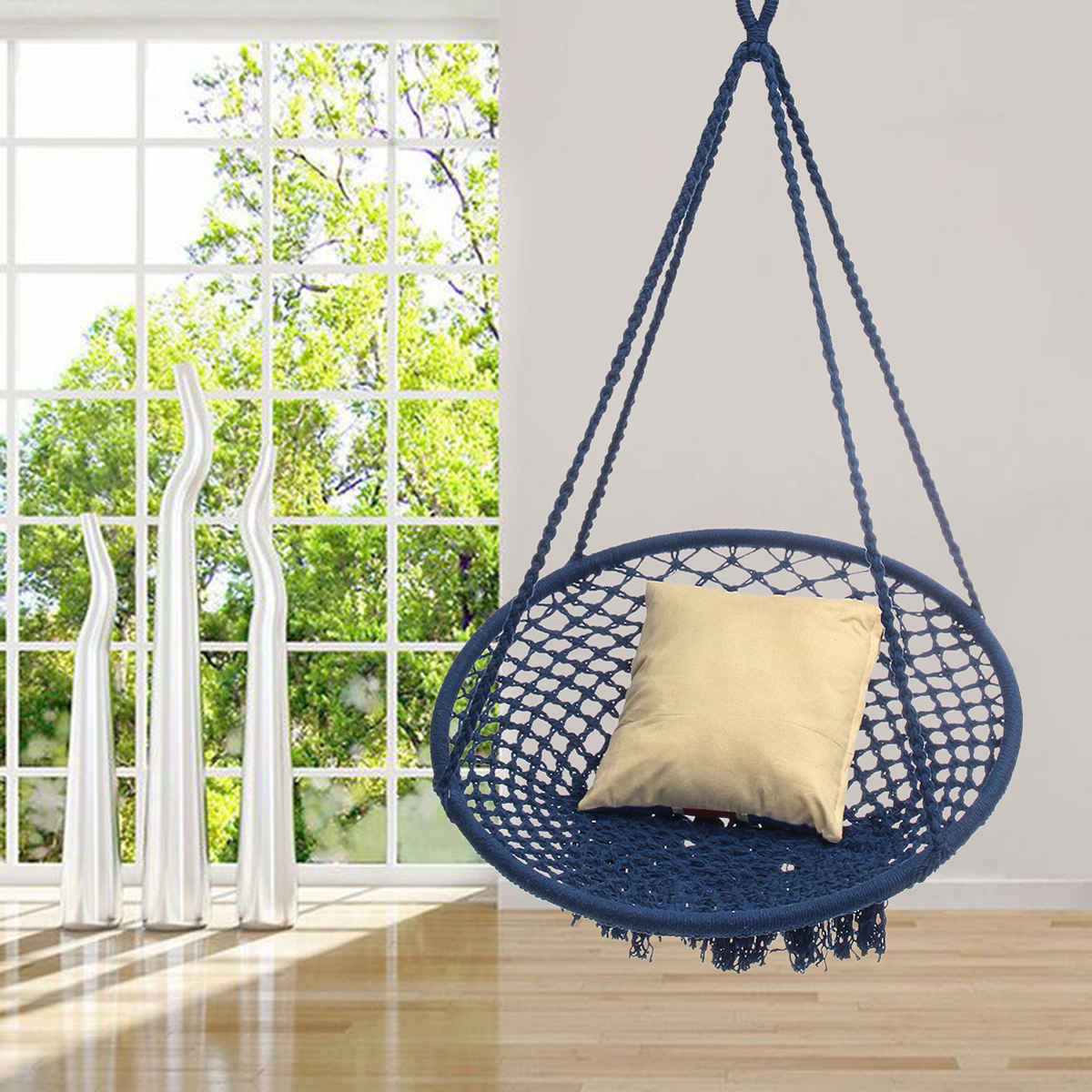 Nordic Style Mesh Hammock Outdoor Indoor Country Hammock Chair For Dormitory Bedroom Hammock Chair Safety Swing Hanging breathable ice mesh individual lifts chair outdoor swing mesh hammock strong and safety portable casual lightweight lifts chair