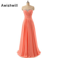 Custom Made Vestido de Noche Sweetheart Neckline Beaded Ruched Chiffon Long Evening Gowns for Pageant Coral Party Dresses