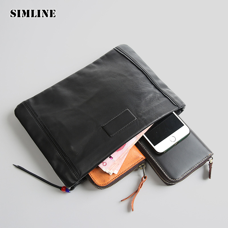 New Luxury Brand Vintage Genuine Soft Sheepskin Leather Men Male Zipper Clutch Bag Bags Wallet Purse Wallets Card Holder For Man man leather bag high quality skull wallet personality clutch bags rivets pu leather purse zipper card holder punk wallets h006