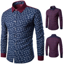 Brand New Men's Casual Shirt Social Floral Print Shirt Full Sleeve Turn Down Collar