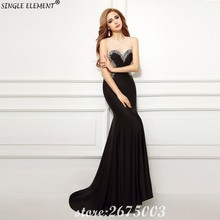 SINGLE ELEMENT Real Photo Custom Modest Black Long Women Mermaid Evening Dresses