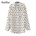 2017 Summer Clothing New fashion Women Long Sleeve Chiffon Button Down Blouse Heart Print Casual Shirt Women Clothes