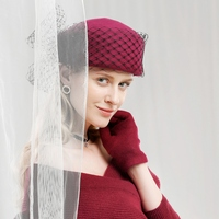 Lady Fedoras Hats Girls Veil Wool Party Cap Women's Elegant Fashionable Woolen Hats Stylish Retro Gauze Woolen Hats Adjust A45