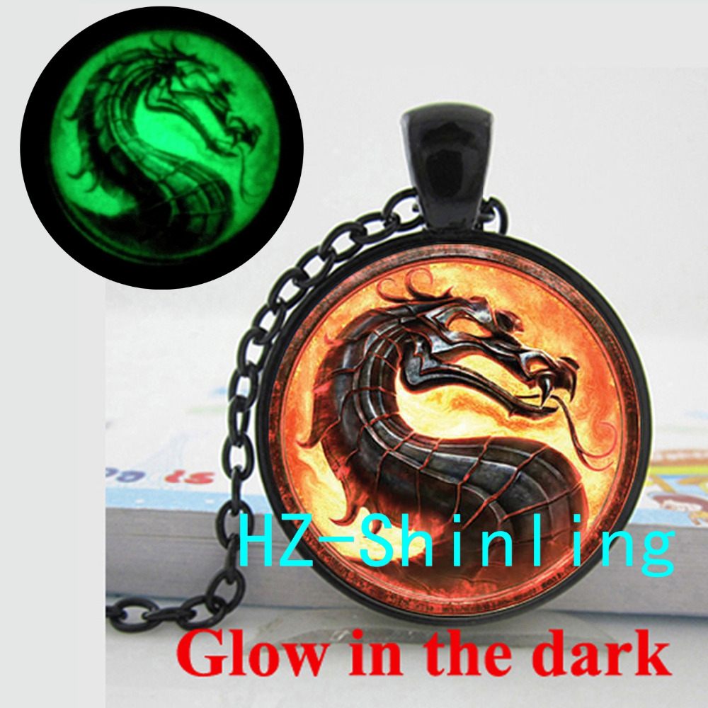 Glow in The Dark Dragon Necklace Mortal Kombat Pendant Glass Photo Jewelry Glowing Necklace Pendant