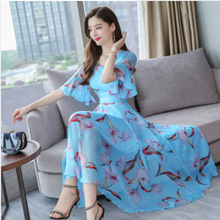 Summer Fashion Women Printed V Neck Short Sleeve Leisure Beach Style Chiffon Dress