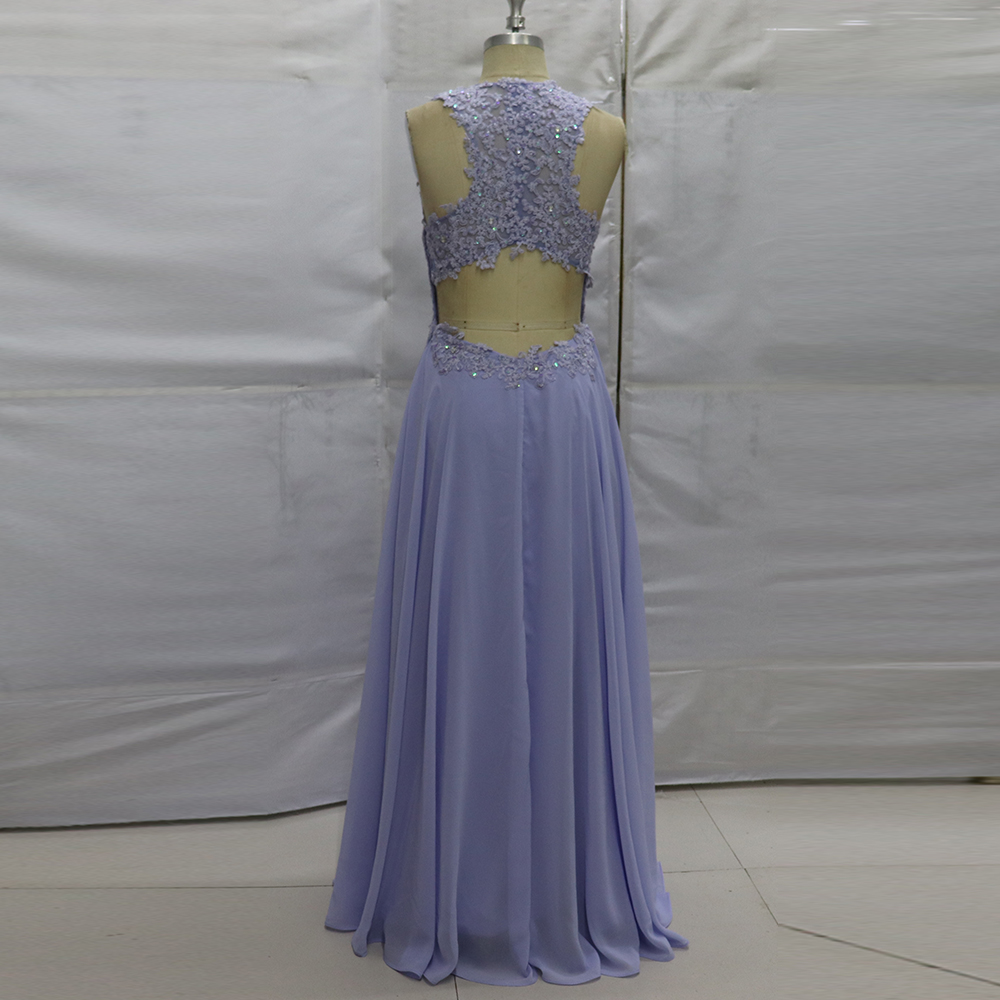 Modest Lavender Formal Evening Gowns Beads Lace Long Prom Dresses ...