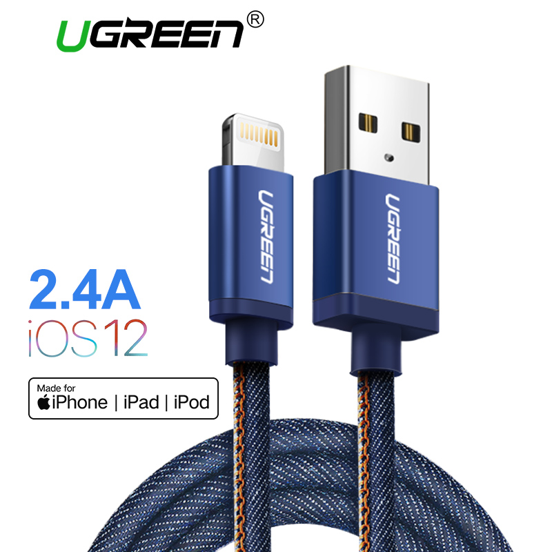 Ugreen MFI Lightning cable para iPhone 7 Denim trenzado 8 Pasadores cable USB cargador rápido cable de datos para iPhone 8 8 más 6 5 IPad cable