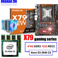 Descuento placa base HUANAN ZHI deluxe X79 LGA2011 Placa base con M.2 ranura CPU Xeon E5 2640 C2 con enfriador RAM 16G (4*4G) RECC