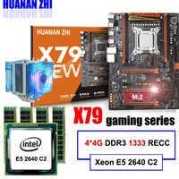 Placa base de descuento HUANAN ZHI deluxe X79 LGA2011 placa base con ranura m2 CPU Xeon E5 2640 C2 con refrigerador RAM 16G (4*4G) RECC