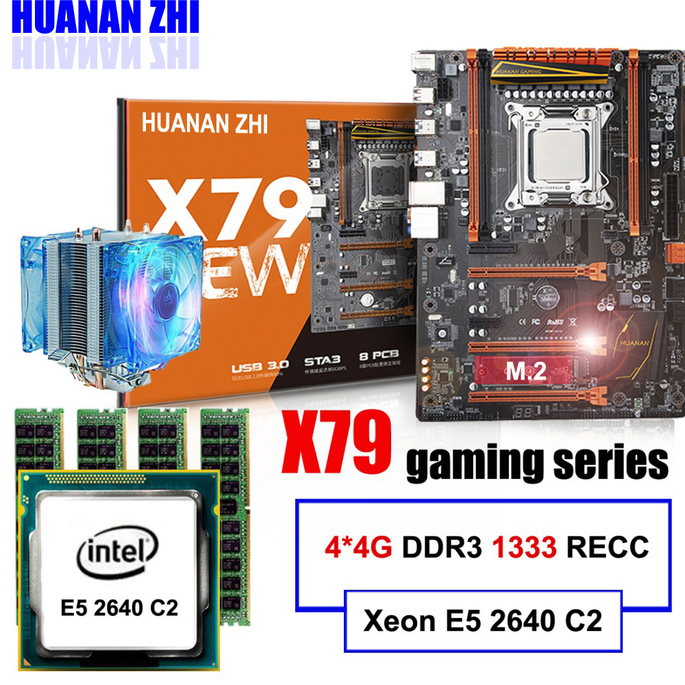 Remise carte mère HUANAN ZHI deluxe X79 LGA2011 carte mère avec M.2 slot CPU Xeon E5 2640 C2 avec cooler RAM 16g (4*4g) RECC