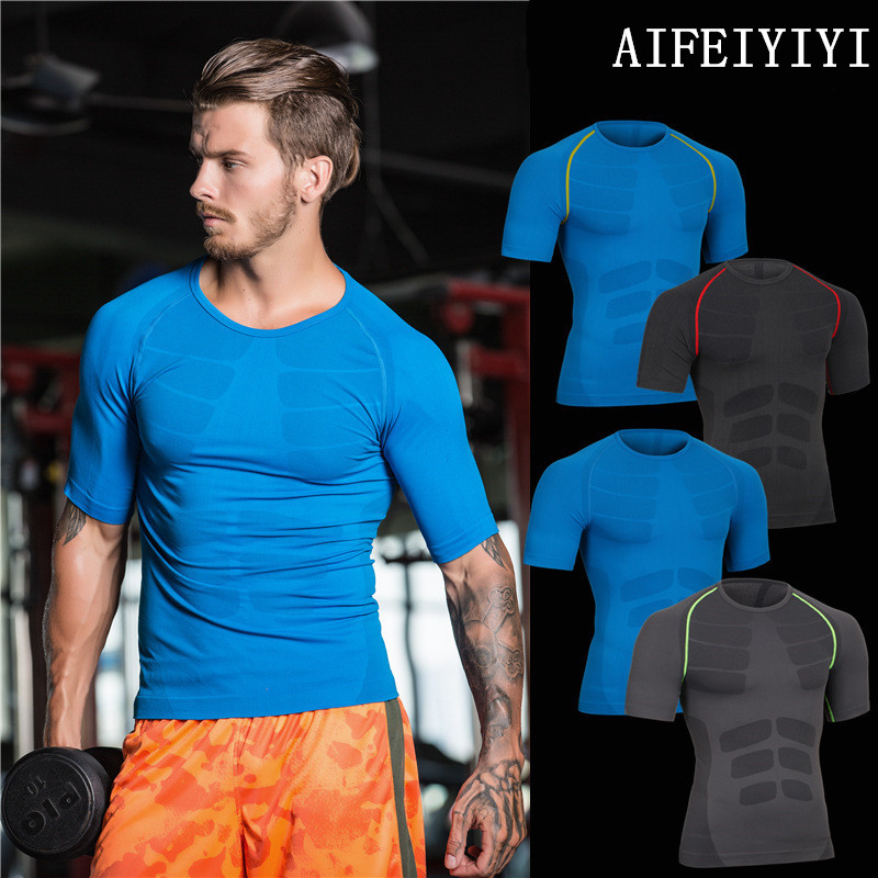 Summer 2019 Mens Base Layer Short Sleeve Fitness Tight Tops Body Shapers Wear Breathable Quick Dry Compression Thermal Underwear