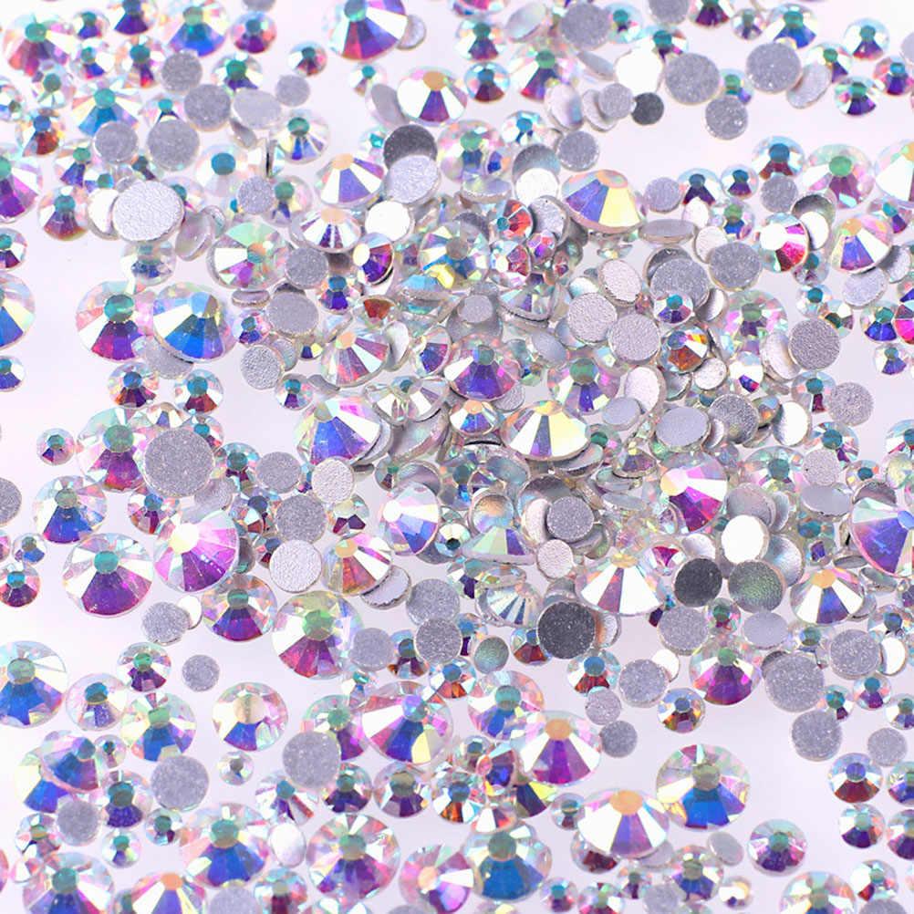 1440 Pcs 1.5 Mm Kristal AB Sepanjang Kuku Seni Rhinestones Campuran Punggung Rata 3D Kuku Decorations SS12AB