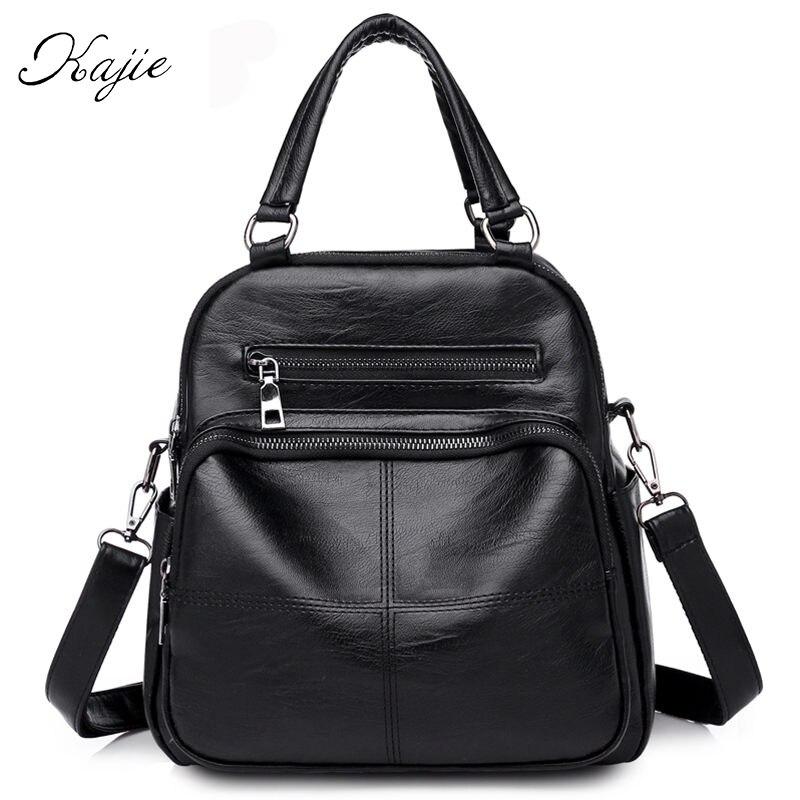 Fashion Black School Bag For Teenage Girls Pu Leather Backpack High Quality Laptop Back Pack Soft Women Shoulder Bag Mochila 1