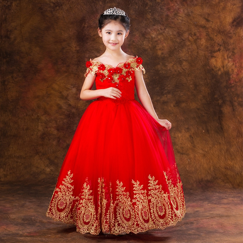 27b3bb0f88 Princess Ball Gown gold Lace Red Flower Girls Dresses for Weddings Birthday  Communion Kids Stage Performance