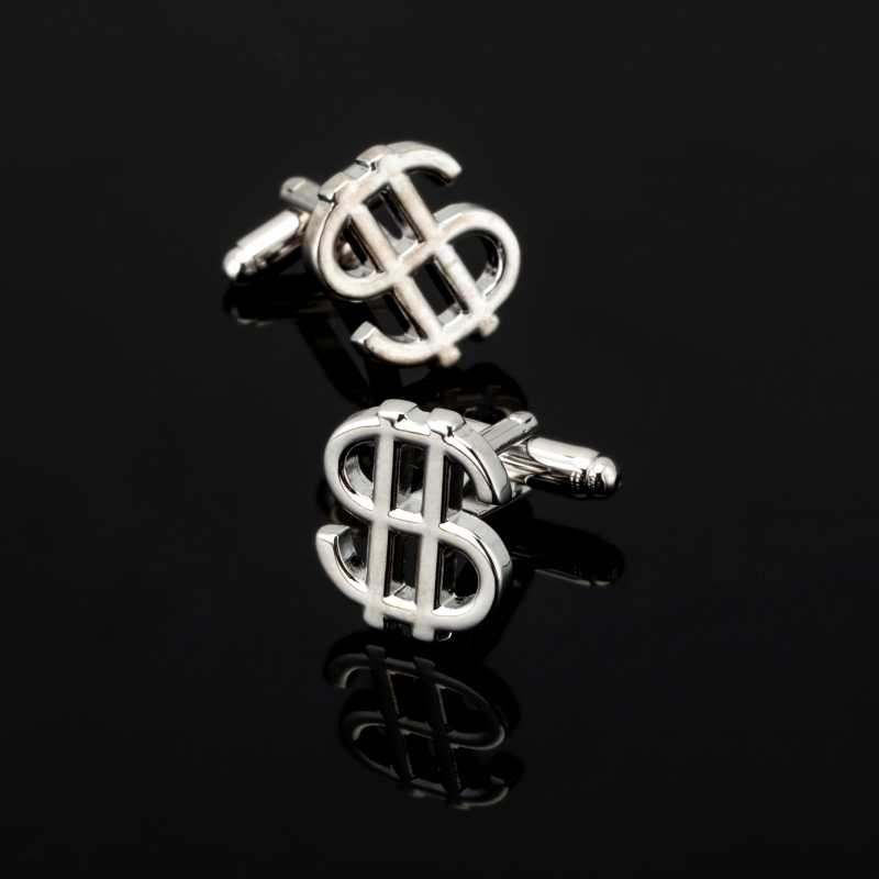 XK Moda Kişilik DIY Para Birimi Sembolü Kol Düğmeleri Yeni Yaratıcı Klasikleri Kol Düğmesi Dolar $ Manşet Düğmeleri Erkekler Için noel hediyesi