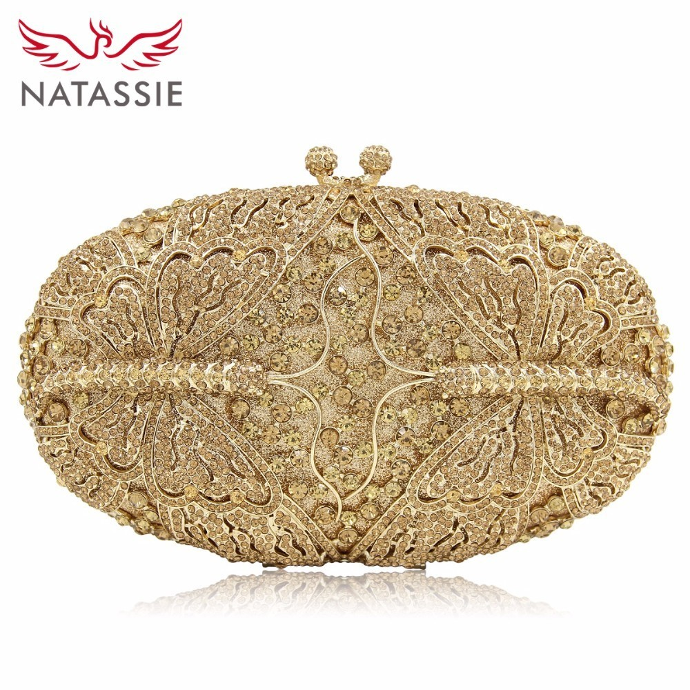 NATASSIE Women Clutch Dragonfly Shape Bag Luxury Crystal Evening Bags Female Clutches Wedding Party Purse With Long Chain