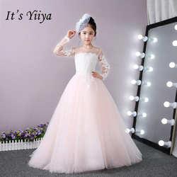 Это yiiya Новое кружевное платье с длинными рукавами для девочек в цветочек платья Однотонная одежда девушки платье длиной до пола принцессы