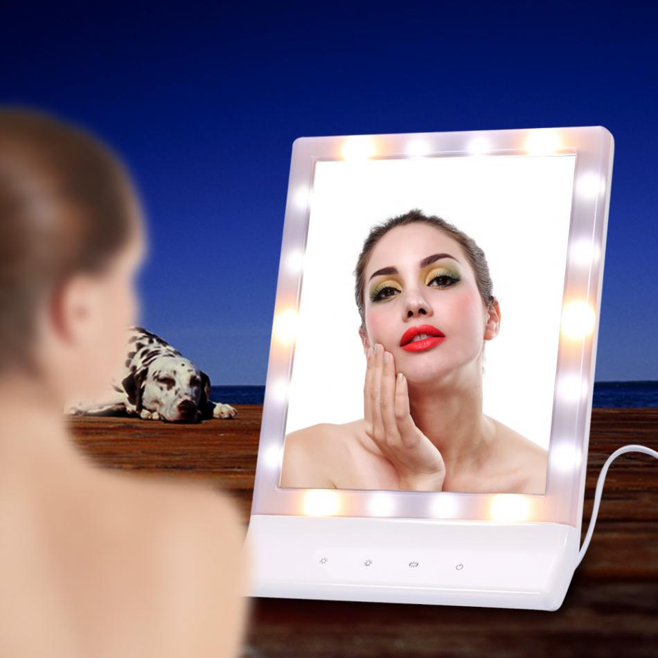 Oversea LED Light Makeup Mirror Cosmetic Lighted Vanity 90 Rotating Tabletop Touch Screen Mirror Desktop Make up Vanity Mirror цена