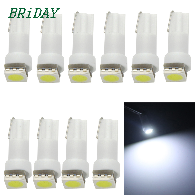 10pcs T5 5050 1SMD Wedge Dashboard Led White Red Blue Green Yellow Car Auto Light Interior Dashboard Bulb Side Lamps DC 12V  100pcs t10 3w 360 degree wedge 5050 9 smd led bulb xenon white white warm white yellow red blue green car tail light