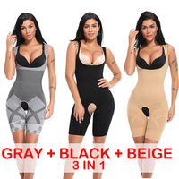 3 Pieces / 3 in 1 Slimming Full Body Shaper Modeling Belt Waist Trainer Butt Lifter Panties Control Push Up Shapewear