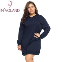 IN VOLAND Oversized 5XL Women S Hoodies Hooded Dress Autumn Solid Pullover Casual Loose Fit Pullovers