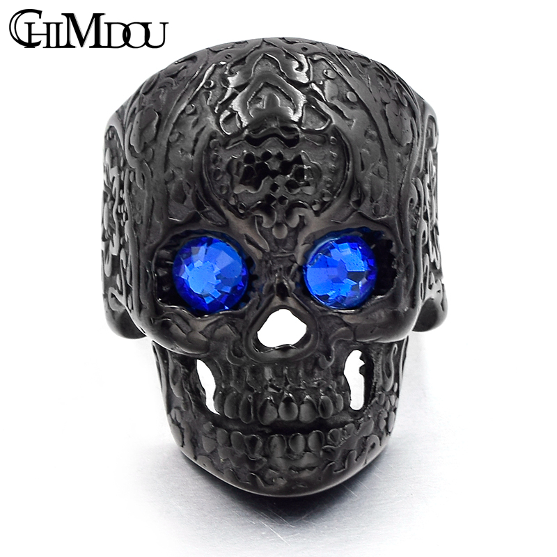 CHIMDOU flower tattoo blue eyes skull Men Ring Black stainless steel - Fashion Jewelry - Photo 3