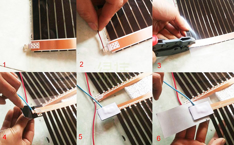carbon heating film connection