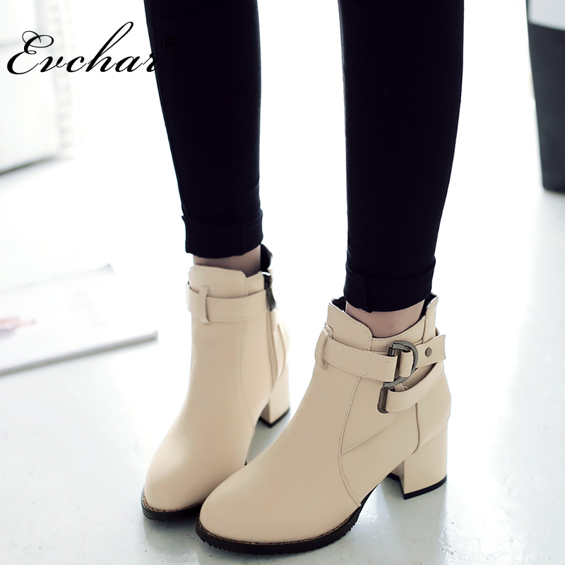 Women Boots Martin-Boots-Shoes Pointed-Toe Ankle-Westerm Female Thick Large-Size Zip