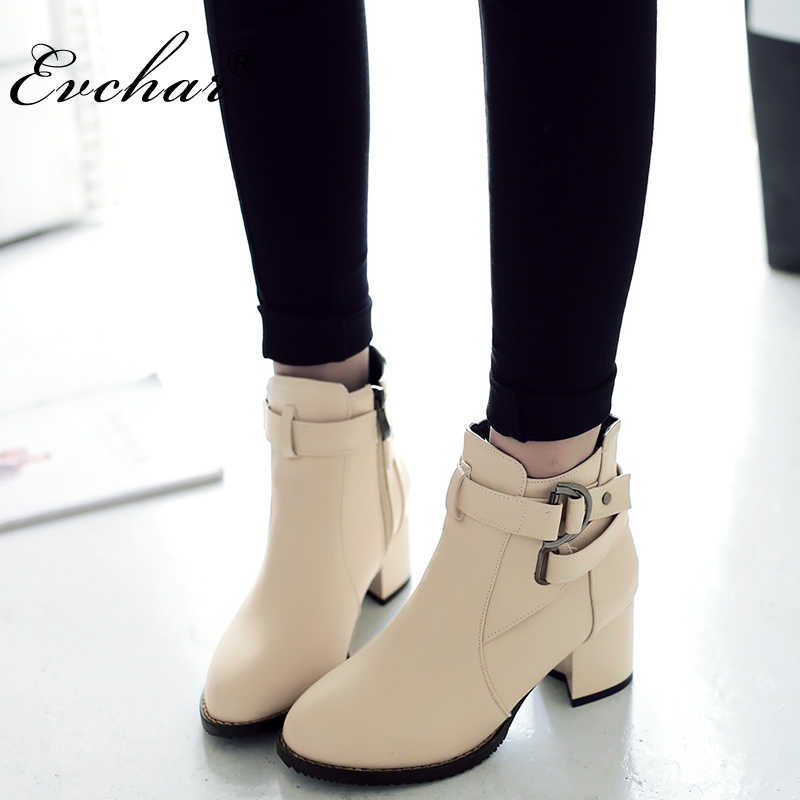0197898e62a Women Boots Thick Heel Boots Ankle westerm Pointed Toe Side zipper Boots  Female Buckle martin boots