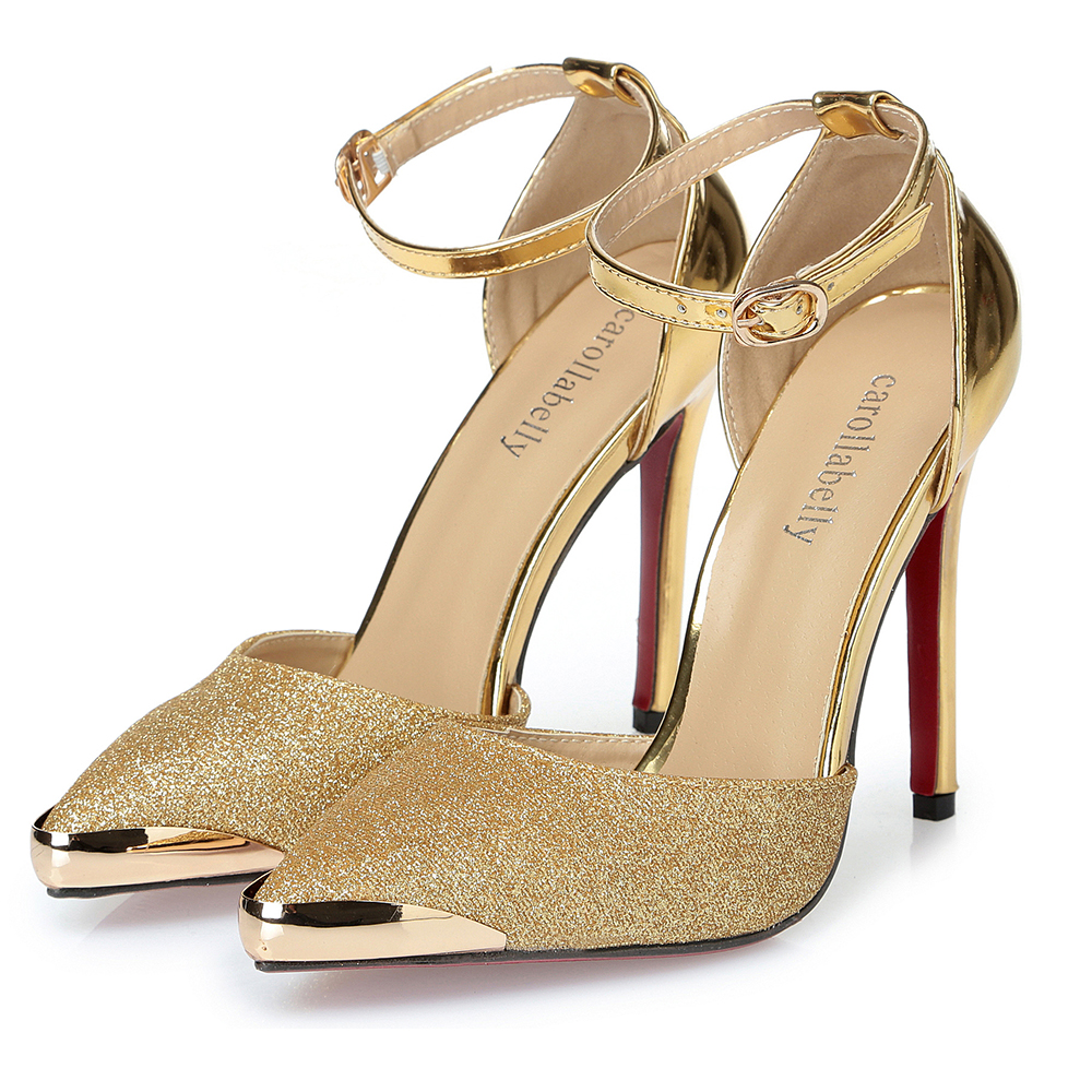 Thin High Heels Women Pumps Sexy Glittery Leather Bright ...