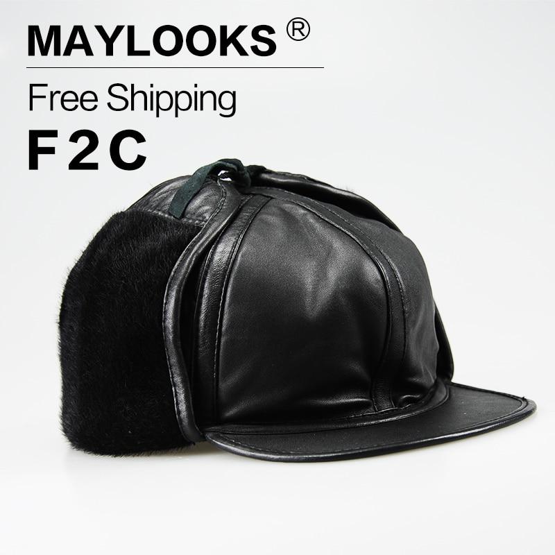 2018 Direct Selling Rushed Erwachsene Maylooks Winter Hüte Caps Für Pu Leder Damen Warme Pelz Bomber Unisex Patchwork Für Cs27 Bequemes GefüHl