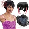 100% реальные Человеческие волосы топперы Короткие Бобо естественный замены волос для Женщин Аккуратные fringe мужские шиньоны Клип В Парик 12*13 см